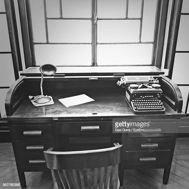 High Angle View Of Typewriter On Desk In Office