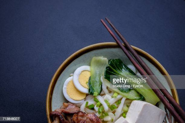 High Angle View Of Udon Noodles In Bowl On Table