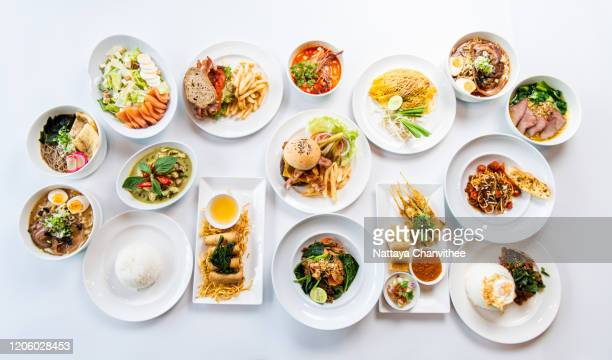 high angle view of variety food on table - stock photo - portie stockfoto's en -beelden