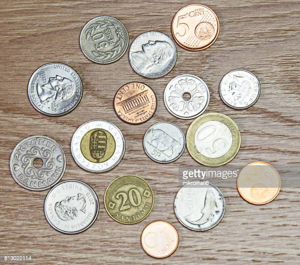 High Angle View Of Various Coins, Mixed coins