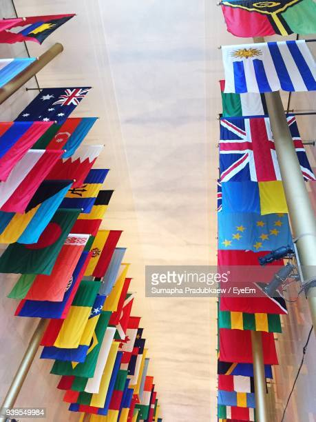 high angle view of various flags - national flag stock photos and pictures