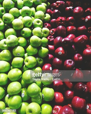 High Angle View Of Various Fresh Apples At Shop