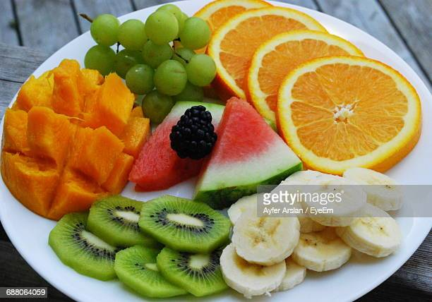 High Angle View Of Various Fruit On Plate