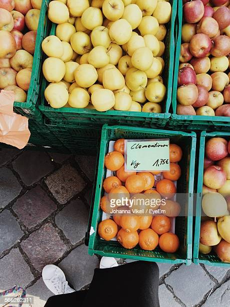 High Angle View Of Various Fruits In Crate For Sale At Market