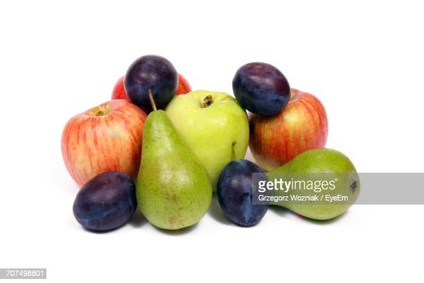 High Angle View Of Various Fruits On White Background