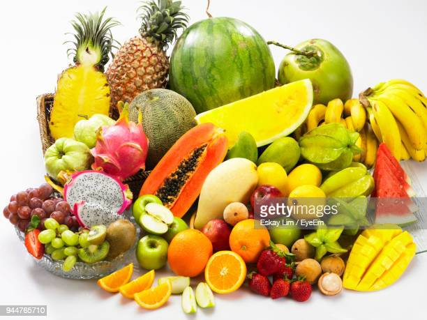 High Angle View Of Various Fruits Over White Background