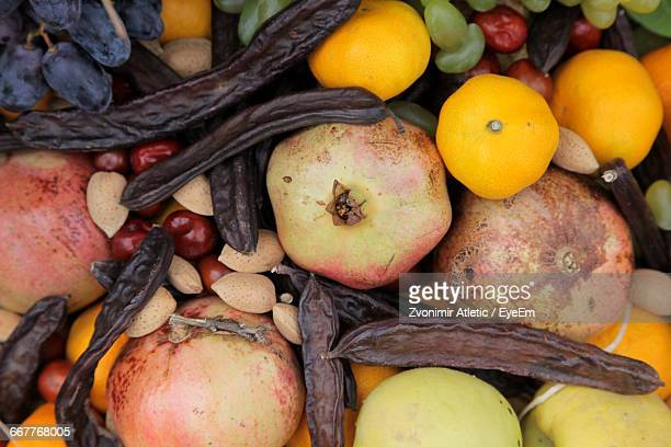 High Angle View Of Various Fruits