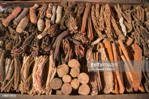 High Angle View Of Various Herbal Sticks For Sale At Market