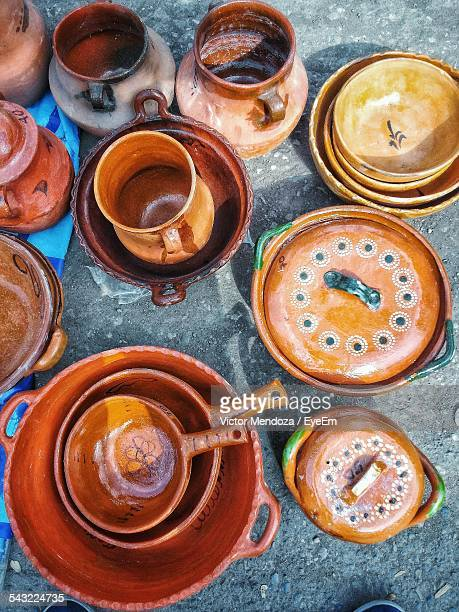 High Angle View Of Various Kitchen Utensils For Sale