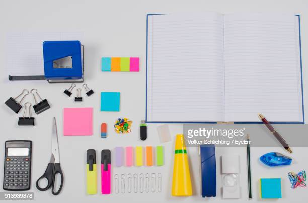 High Angle View Of Various Objects Against White Background
