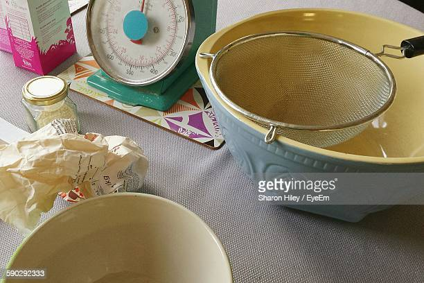 High Angle View Of Various Objects On Table In Kitchen