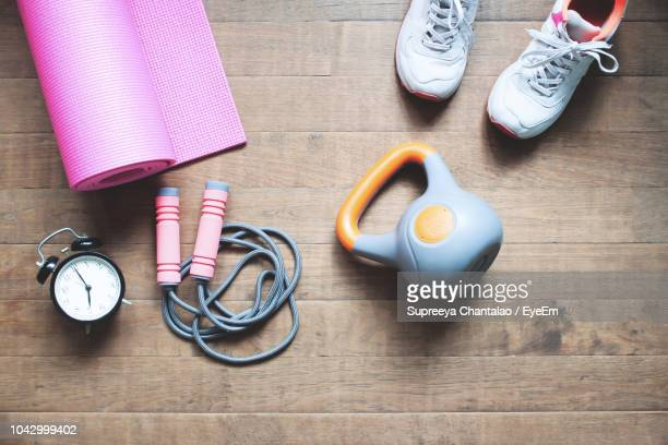 high angle view of various objects on table - still life not people stock photos and pictures
