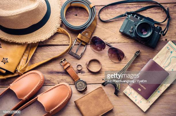 high angle view of various objects on table - souvenir stock pictures, royalty-free photos & images