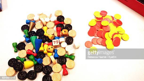 high angle view of various objects on table - rebecca haertel stock-fotos und bilder