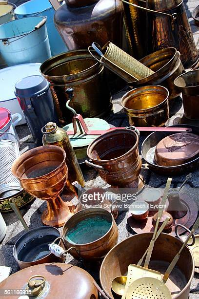 High Angle View Of Various Ports For Sale In Flea Market