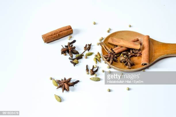High Angle View Of Various Spices On White Background