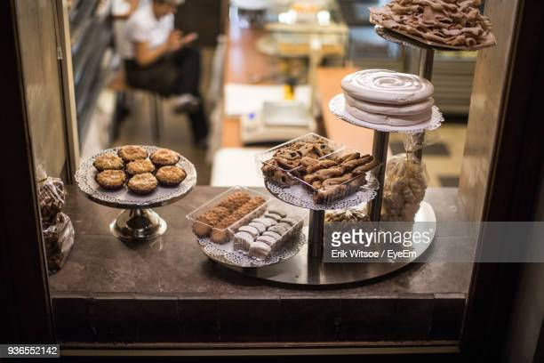 High Angle View Of Various Sweet Food On Window Sill