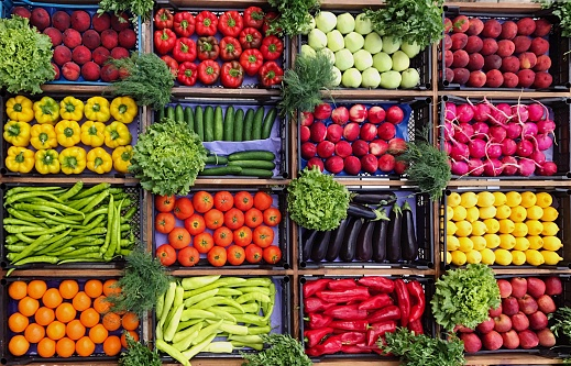 High Angle View Of Various Vegetables And Fruits For Sale At Market Stall - gettyimageskorea