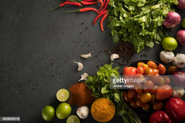 High Angle View Of Various Vegetables, Herbs And Spices.