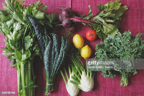 High Angle View Of Various Vegetables