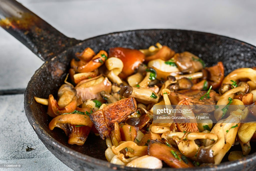 High Angle View Of Vegetable In Cooking Pan On Table : Photo