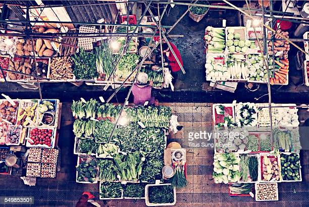 High Angle View Of Vegetable Market