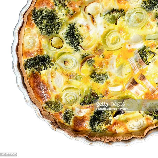 High Angle View Of Vegetable Quiche On Table
