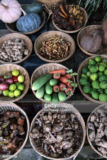 High Angle View Of Vegetables And Fruits At Market Stall