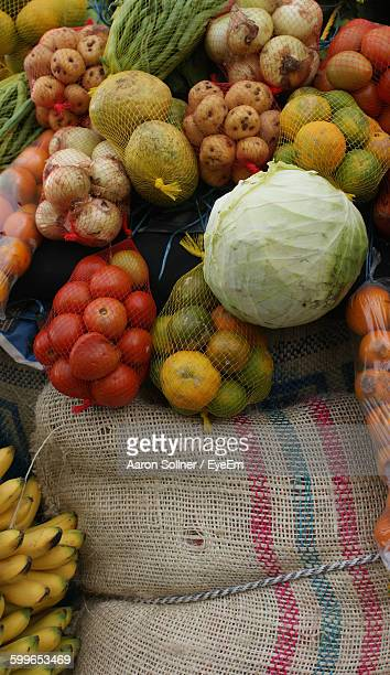 High Angle View Of Vegetables And Fruits For Sale At Street Market