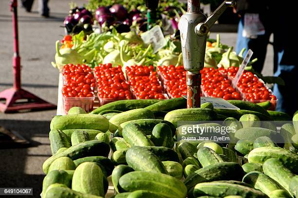High Angle View Of Vegetables At Street Market Stall