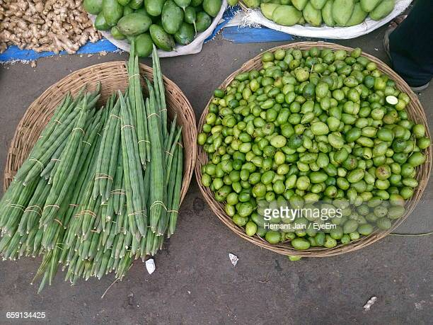 High Angle View Of Vegetables For Sale At Street Market