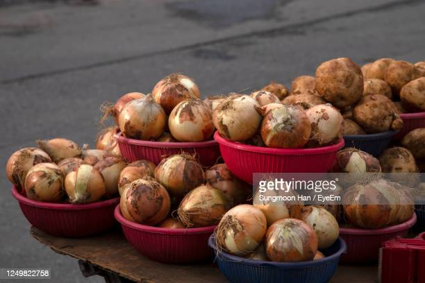 high angle view of vegetables for sale in market - basket stock pictures, royalty-free photos & images