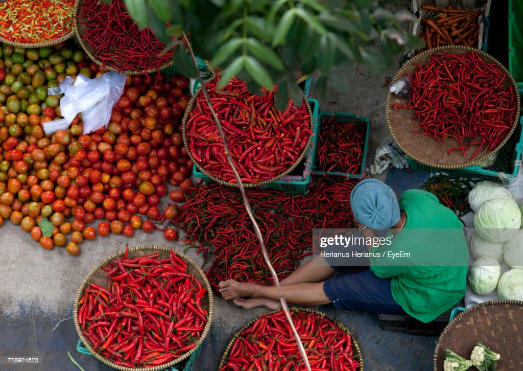 High Angle View Of Vegetables For Sale In Market : Stock Photo