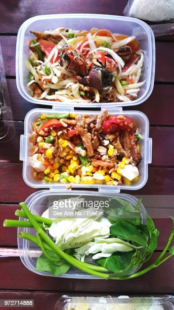 High Angle View Of Vegetables In Lunch Box