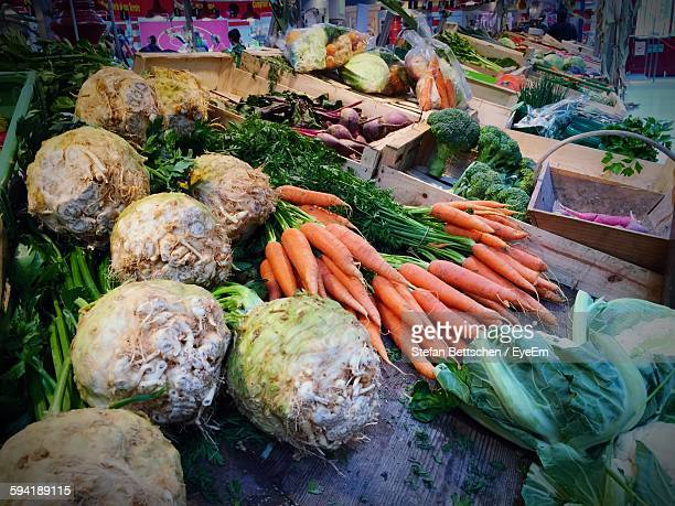 High Angle View Of Vegetables In Market For Sale