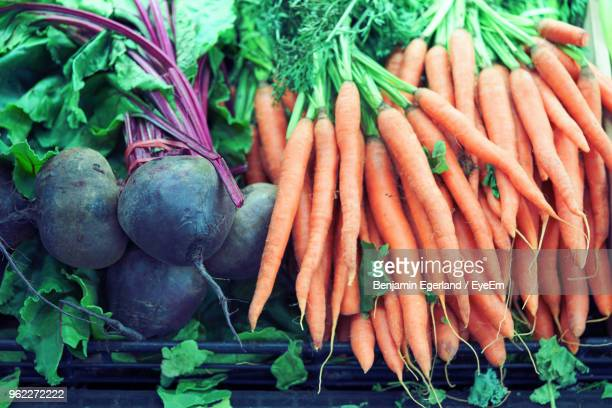 high angle view of vegetables in market - adelaide market stock pictures, royalty-free photos & images
