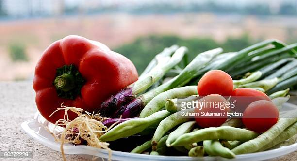 high angle view of vegetables in plate on table - suhaimi 個照片及圖片檔