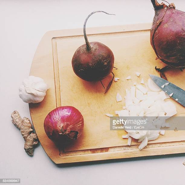High Angle View Of Vegetables On Cutting Board At Home