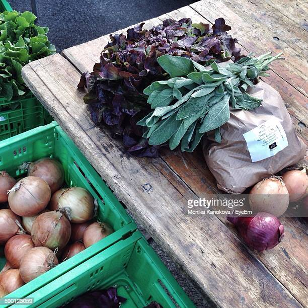 High Angle View Of Vegetables On Table For Sale In Market