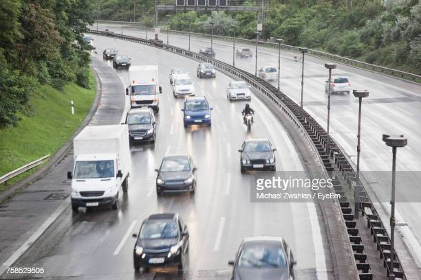 High Angle View Of Vehicles Moving On Highway During Monsoon