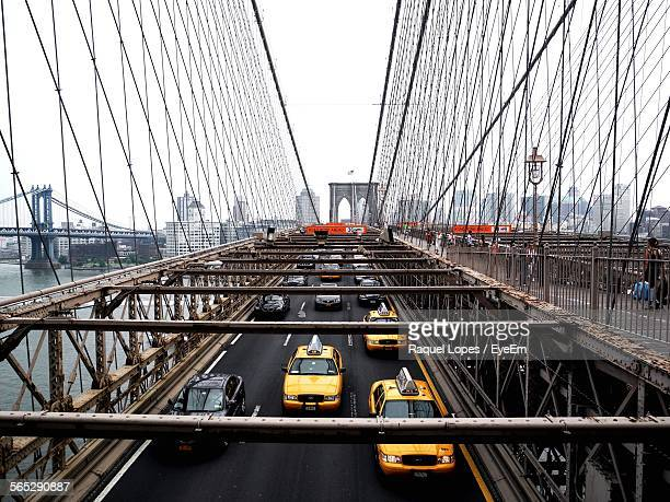 High Angle View Of Vehicles On Brooklyn Bridge