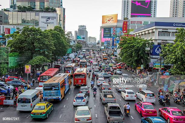 high angle view of vehicles on street during traffic jam - バンコク ストックフォトと画像