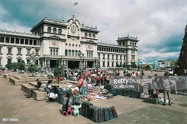 High angle view of vendors at a market Guatemala City Guatemala