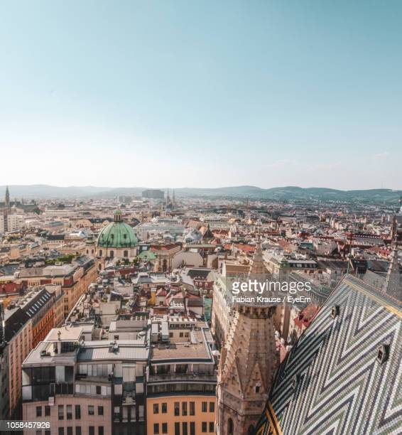 high angle view of vienna cityscape - vienna austria stock pictures, royalty-free photos & images