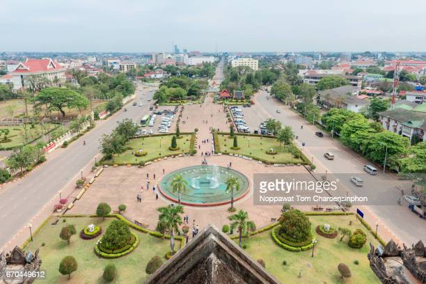 High angle view of Vientiane, Laos, Southeast Asia
