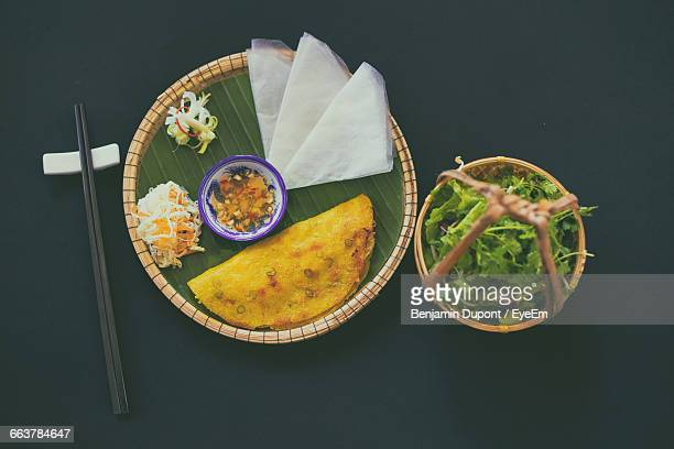 High Angle View Of Vietnamese Food In Plate