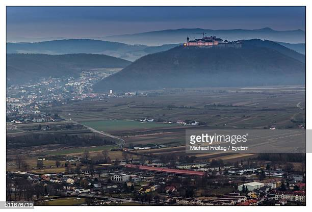 high angle view of village and agricultural fields - sankt poelten stock pictures, royalty-free photos & images