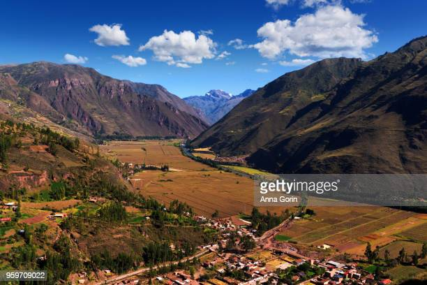 High angle view of village of Taray in Sacred Valley of Peru, autumn afternoon