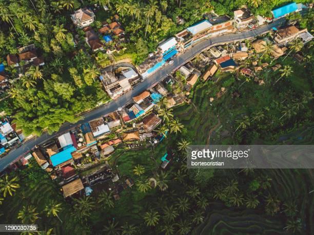 high angle view of village - bortes foto e immagini stock