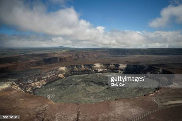 High angle view of volcanic crater on mountaintop, Kilauea, Hawaii, United States